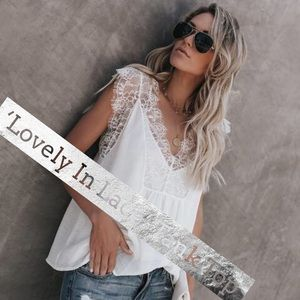'Lovely In Lace' Tank Top In White